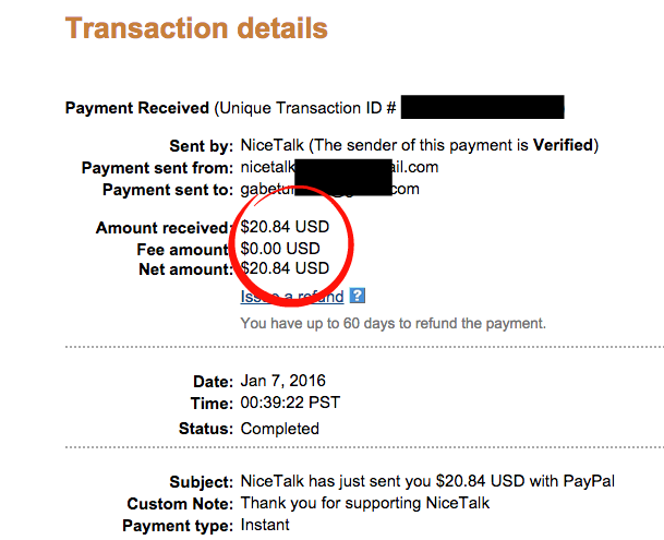 Nice Talk Payment proof 1